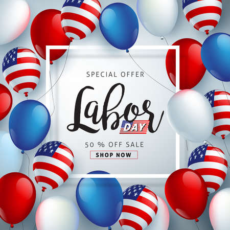 Labor day sale promotion advertising banner template decor with American flag balloons design .American labor day wallpaper.voucher discount.Vector illustration . Çizim