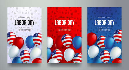Labor day sale promotion advertising banner template decor with American flag balloons design .American labor day wallpaper.voucher discount.Vector illustration . Illustration