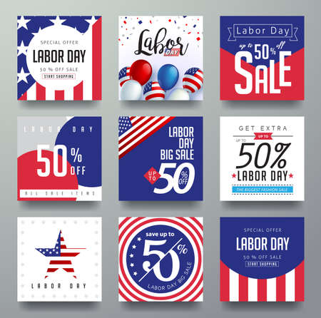Labor day sale promotion advertising banner template decor with American flag.American labor day wallpaper.voucher discount.Vector illustration . Vectores