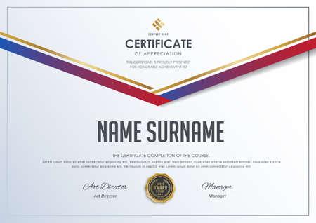 modèle de certificat avec motif de luxe, diplôme, illustration vectorielle.