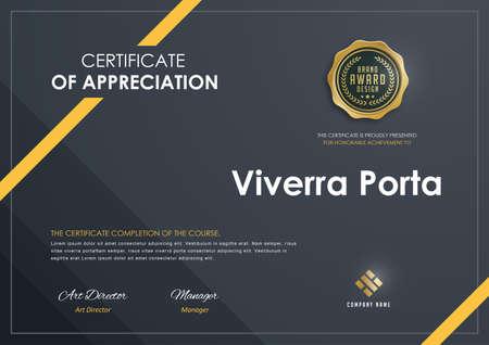Zertifikatvorlage mit Luxusmuster, Diplom, Vektorillustration. Standard-Bild - 83625188