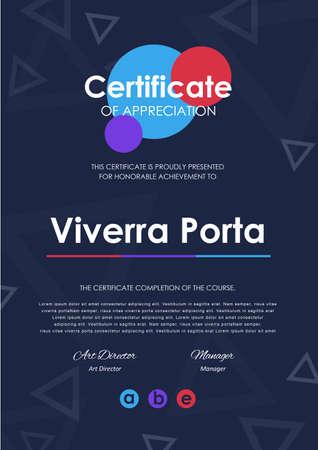 Zertifikatschablone mit modernem Muster, Diplom, Vektorillustration. Standard-Bild - 83625184