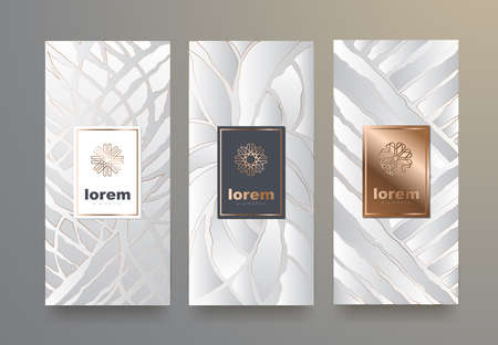 Vector set packaging templates with different texture for luxury products.logo design with trendy linear style.vector illustration Фото со стока - 83864766