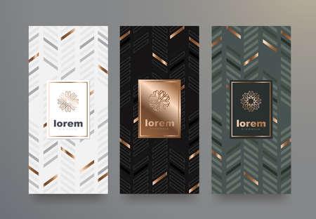 Conjunto de vectores conjunto de plantillas de embalaje con textura diferente para el diseño de lujo products.logo con estilo linear trendy.vector ilustración