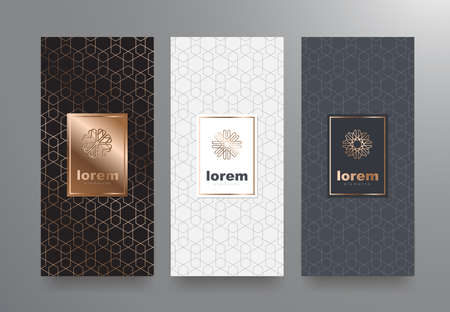 Vector set packaging templates with different texture for luxury products.logo design with trendy linear style.vector illustration Stok Fotoğraf - 83875527