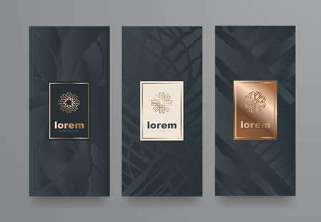 Vecteur défini des modèles d'emballage avec une texture différente pour la conception de products.logo de luxe avec illustration linéaire trendy style.vector Banque d'images - 83876599