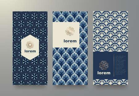 Vector Set Verpackung Vorlagen mit verschiedenen Textur für Luxus products.logo Design mit trendigen linearen style.vector Illustration Standard-Bild - 83876601