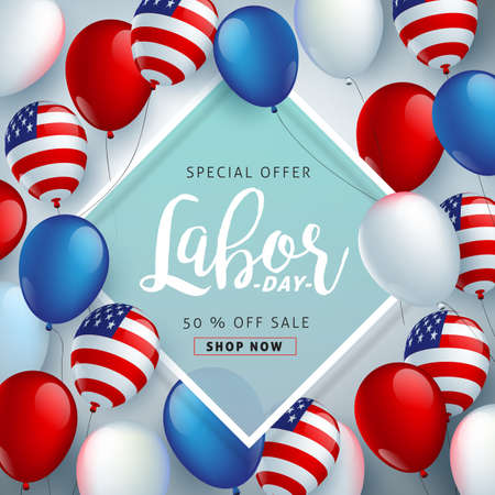 Labor day sale promotion advertising banner template decor with American flag balloons design .American labor day wallpaper.