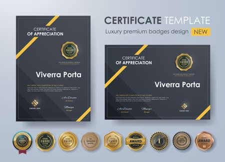 Zertifikatvorlage mit Luxus-Muster, Diplom, Vektor-Illustration und Vektor Luxus-Premium-Abzeichen Design, Set retro Vintage Abzeichen und Etiketten. Standard-Bild - 84417050