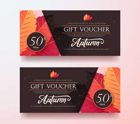 Autumn Gift Voucher discount template with colorful pattern. Vector illustration. Illusztráció