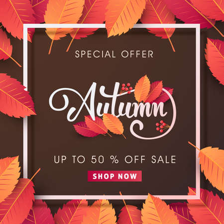 Autumn sale background layout decorate with leaves for shopping sale or promo poster and frame leaflet or web banner.Vector illustration template. Stok Fotoğraf - 84442510