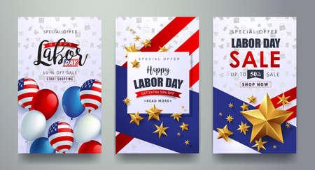 노동절 판매 홍보 광고 배너 템플릿 디자인 미국 국기 풍선 디자인. 미국 노동 하루 벽지입니다. 할인 혜택입니다. 벡터 일러스트 레이 션.