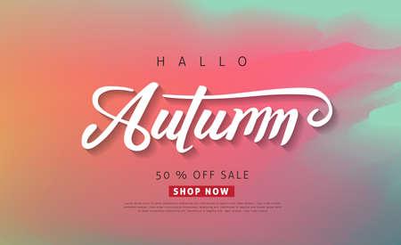 Autumn calligraphy. Seasonal lettering.vector illustration.