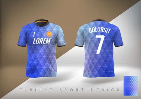 Soccer t-shirt design slim-fitting with round neck. Vector illustration Vettoriali