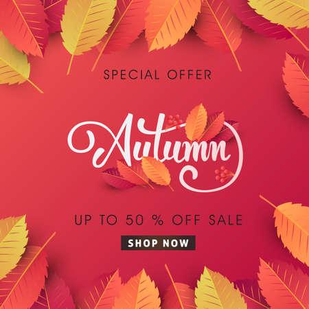 El diseño del fondo de la venta del otoño adorna con las hojas para la venta o el cartel del promo y el folleto o la bandera del web del web. Plantilla del ejemplo del vector.