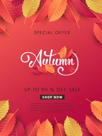 Herbst Verkauf Hintergrund Layout dekorieren mit Blättern für Shopping-Verkauf oder Promo-Poster und Frame Broschüre oder Web-Banner.Vector Illustration Vorlage. Standard-Bild - 84742369