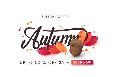 Autumn calligraphy. Seasonal lettering.vector illustration Illustration