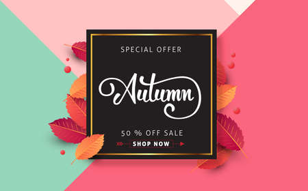 Autumn calligraphy. Seasonal lettering.vector illustration Çizim
