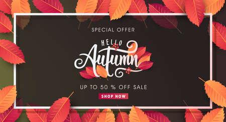 Caligrafía de otoño Ilustración de temporada de lettering.vector Foto de archivo - 85185679