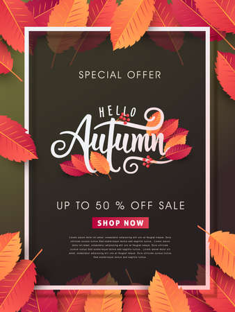Autumn calligraphy. Seasonal lettering.vector illustration Stok Fotoğraf - 85185681
