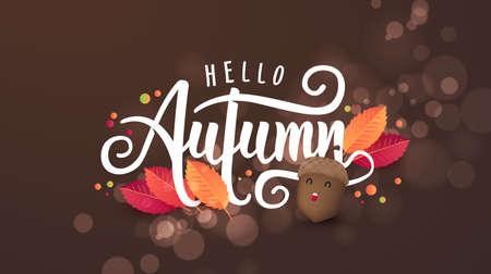 Autumn calligraphy. Seasonal lettering.vector illustration Çizim