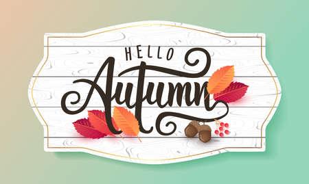 秋の販売背景のレイアウトは、ショッピング販売やプロモーションポスターやフレームリーフレットやウェブバナーのための葉で飾ります。ベクタ  イラスト・ベクター素材