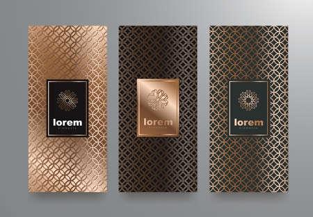 ベクトルは、トレンディな直線的なスタイルと高級 products.logo デザインの異なる質感を持つパッケージ テンプレートを設定します。