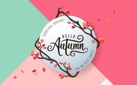 holiday shopping: Autumn sale background layout decorate with leaves for shopping sale or promo poster and frame leaflet or web banner.Vector illustration template.