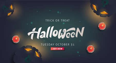 Calligraphie d'Halloween heureuse. invitation de fête de bannières. Illustration vectorielle. Vecteurs