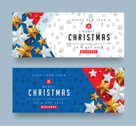 Christmas and New Year voucher discount with silver and golden star.