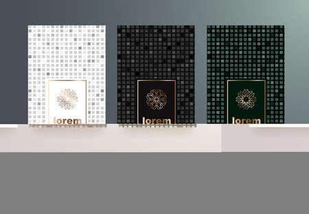 Gesetzte Verpackungsschablonen des Vektors mit unterschiedlicher Beschaffenheit für Luxusprodukte. Design im trendigen linearen Stil. Vektor-illustration Standard-Bild - 88392068