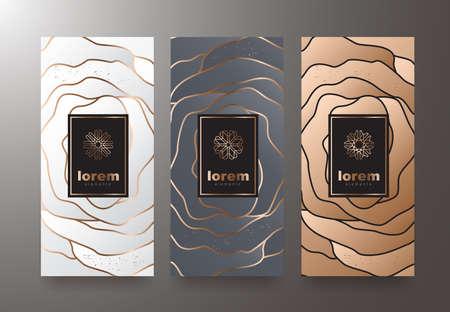 Gesetzte Verpackungsschablonen des Vektors mit unterschiedlicher Beschaffenheit für Luxusprodukte. Design im trendigen linearen Stil. Vektor-illustration