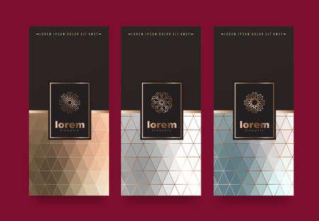 Vector Set Verpackung Vorlagen mit verschiedenen Textur für Luxus products.logo Design mit trendigen linearen style.vector Illustration