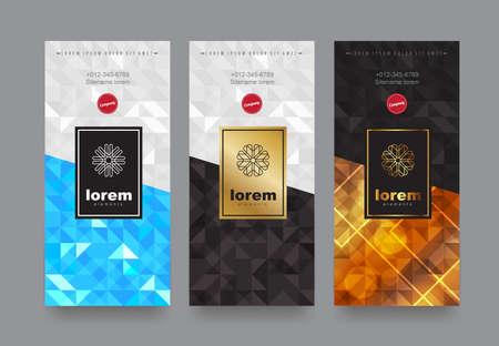 Gesetzte Verpackungsschablonen des Vektors mit unterschiedlicher Beschaffenheit für Luxusprodukte. Design im trendigen linearen Stil. Vektor-illustration Standard-Bild - 88392072