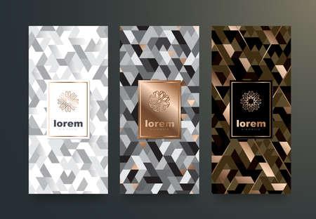 Gesetzte Verpackungsschablonen des Vektors mit unterschiedlicher Beschaffenheit für Luxusprodukte. Design im trendigen linearen Stil. Vektor-illustration Standard-Bild - 88392067