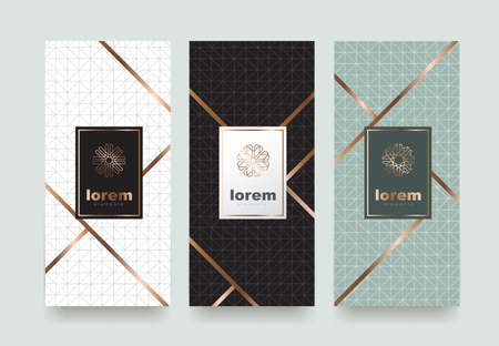 ベクトル セット トレンディな線形 style.vector イラスト高級 products.logo デザインの異なる質感を持つパッケージ テンプレート  イラスト・ベクター素材