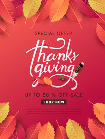 calligraphy of Thanksgiving day sale banner. Seasonal lettering.vector illustration