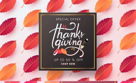 calligraphy of Thanksgiving day sale banner. Seasonal lettering.vector illustration