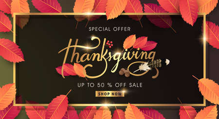 Calligraphy of Thanksgiving day sale banner.