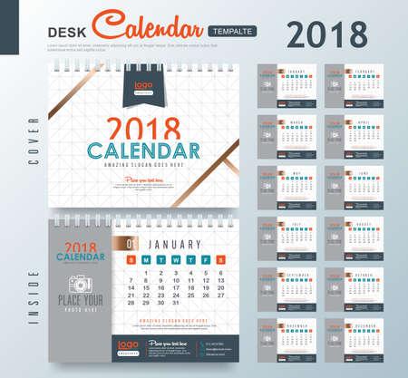 抽象的なパターンを持つ卓上カレンダー2018ベクトルデザインテンプレート。12ヶ月のセット。ベクターイラスト