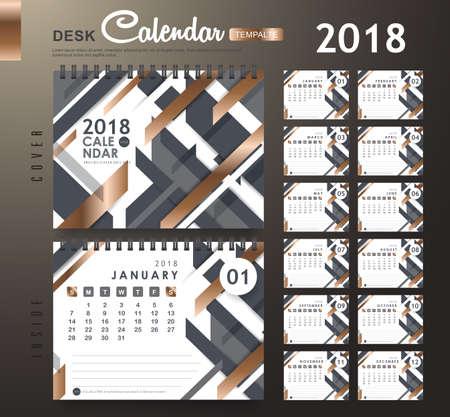 抽象的なパターンを持つ卓上カレンダー2018ベクトルデザインテンプレート。12ヶ月のセット。ベクターイラスト。新年