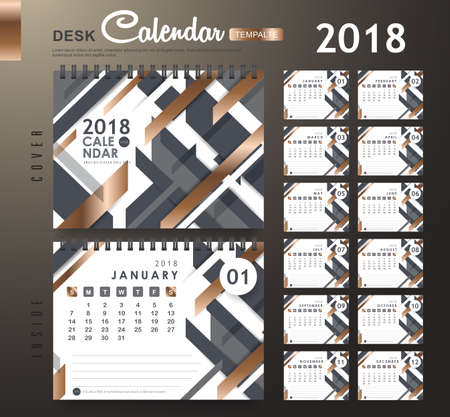 Desk Calendar 2018 Vector Design Template with abstract pattern. Set of 12 Months. vector illustration.new year.