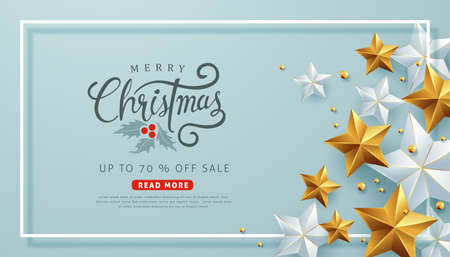 Merry Christmas sale background with Christmas ball and star ornament Vector illustration