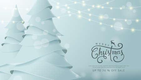 ペーパーアートとクラフトスタイルでメリークリスマスとハッピーニューイヤーセールバナーの背景。書道。ベクターイラストテンプレート。グリ