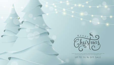 Merry Christmas and Happy New Year sale banner background with paper art and craft style.Calligraphy.Vector illustration template.greeting cards.