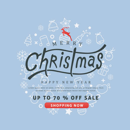 Merry Christmas and Happy New Year sale banner background with christmas icon set.discount gift voucher card for Xmas Holiday.Calligraphy.Vector illustration template.greeting cards.