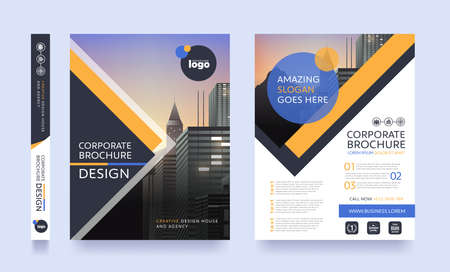 poster flyer pamphlet brochure cover design layout space for photo background, vector template in A4 size Ilustracja