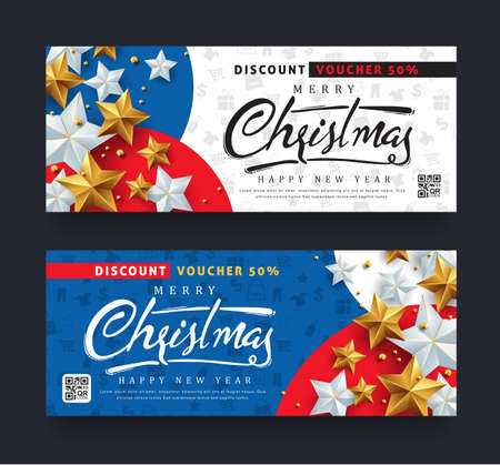 Christmas and New Year voucher discount with silver and golden star Vector illustration template