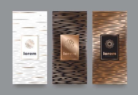 Vector Set Verpackung Vorlagen mit verschiedenen Textur für Luxus products.logo Design mit trendigen linearen style.vector Illustration Standard-Bild - 89984248