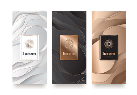 I modelli di imballaggio stabiliti di vettore con differenti strutturano per il design di products.logo di lusso con l'illustrazione lineare alla moda di style.vector Archivio Fotografico - 89984247